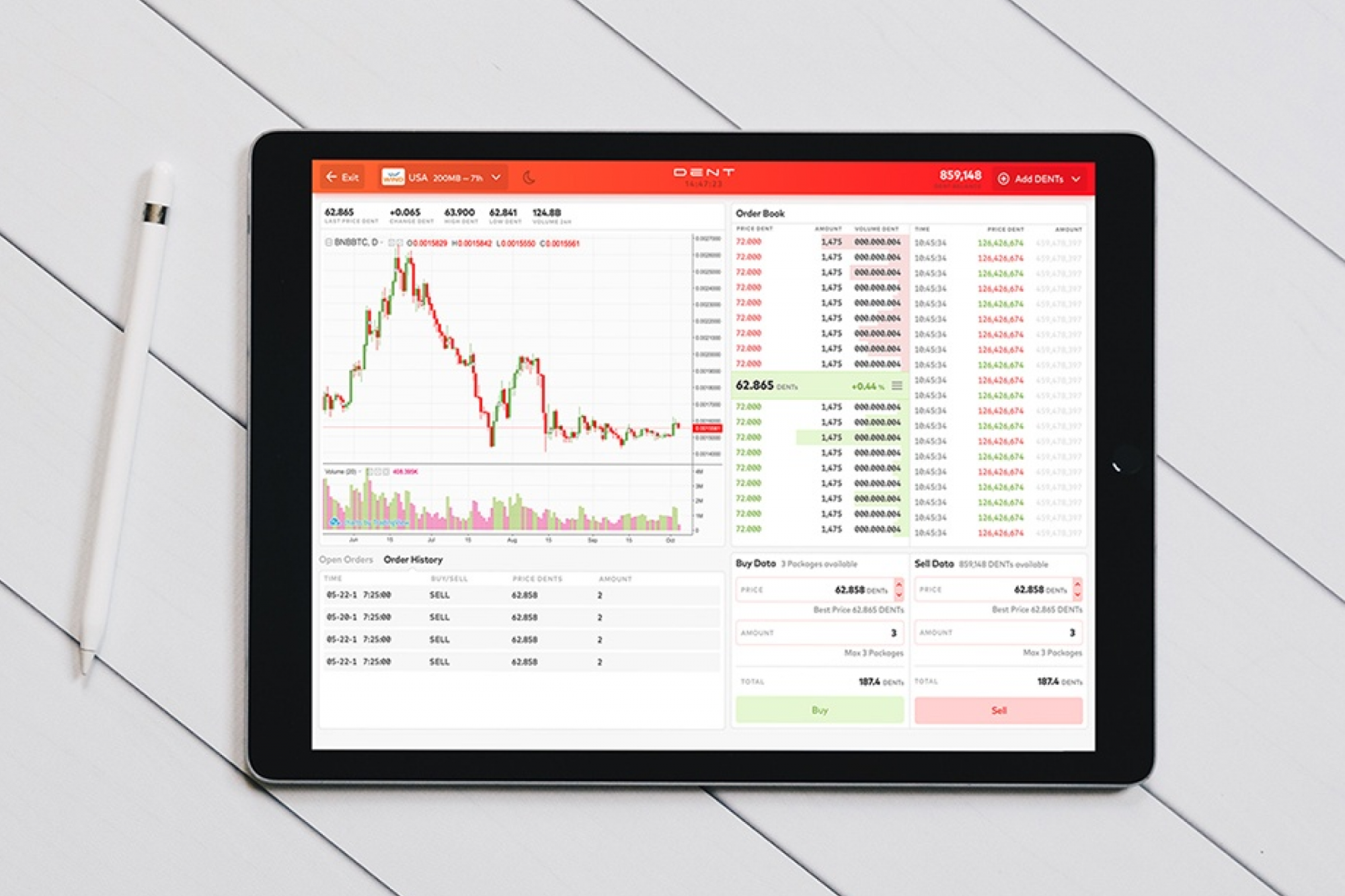 The picture shows the core of the app, the Trading View with the Order Book and Trade History.