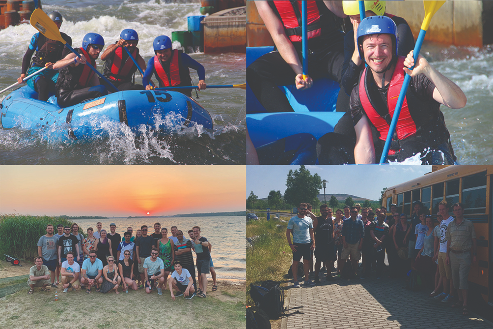 The picture shows scenes from the whitewater adventure at the summer team event.